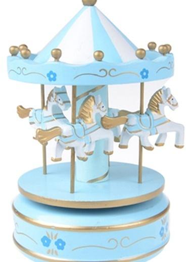 Nostaljik El Yapımı Atlıkarınca Müzik Kutusu Mavi Beyaz-Practika